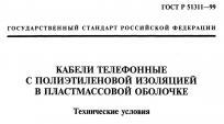 Титульная страница стандарта на телефонные кабели ГОСТ Р 51311-99
