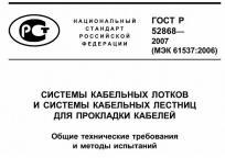 Титульная страница стандарта ГОСТ 52868 на системы кабельных трасс