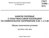 Копия титульной страницы стандарта ГОСТ 31996 (он же ГОСТ 53769 или IEC 60502-1) на силовые кабели пониженной горючести, пониженной пожароопасности и огнестойкие