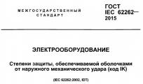 Титульная страница стандарта ГОСТ IEC 62262 на степень защиты IK, которую обеспечивает корпус от механических ударов