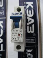 Однополюсный автоматический модульный выключатель ВМ63 на номинальный ток 63 ампера изготовления КЭАЗ