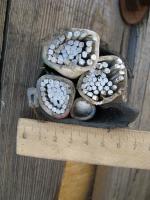 Фотография сечения алюминиевого кабеля АВВГ 3х240+1х120 в поливинилхлоридной изоляции и защитной оболочке