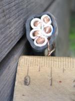 Фотография пятижильного вводного кабеля ВВГнг-LS 5х10 с пятью медными жилами в ПВХ изоляции и оболочке пониженной пожароопасности