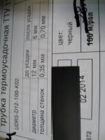 Фотография термоусадочной трубки ТТУ 12/6 чёрного цвета выпуска группы компаний ИЭК
