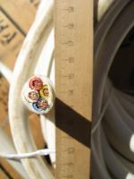 Фотография сечения соединительного медного четырёхжильного провода ПВС 4х10 в поливинилхлоридной изоляции и защитной оболочке белого цвета