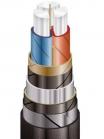 Схематическое изображение бронированного силового кабеля ААБл 3х95 на 10 000 вольт для прокладки в траншеях