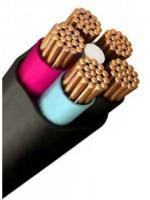 Изображение медного пятижильного кабеля ВВГ 5х1 в поливинилхлоридной изоляции и чёрной оболочке