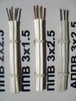 Фотография плоского монтажного провода ППВ 3х2,5 с тремя медными изолированными жилами без оболочки