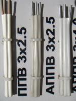 Фотография плоского алюминиевого провода АППВ 3х2,5 в ПВХ изоляции с разделительным основанием