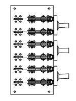 Изображение трёхполюсных перекидного рубильника РЕ19-45 72270 на 2500А с тремя отдельными изолированными рукоятками