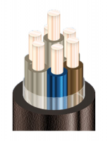 Изображение контрольного негорючего кабеля КВВГнг 7х4 для стационарной групповой прокладки