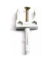 Изображение клипсы или держателя с защёлкой и дюбелем для крепежа гофротрубы диаметром 16 мм