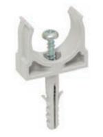 Изображение держателя СТ 16 с дюбелем и шурупом в комплекте для фиксации гофротруб и жёстких труб