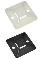 Изображение чёрной и белой сомоклеящейся площадки 30х30 мм для крепления нейлоновых хомутов