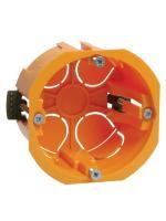 Фотография установочной коробки (подрозетника) КМ40022 размером 65х40 мм с пластиковыми лапками для полых, гипсокартонных стен