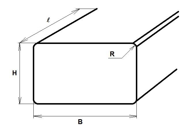 Рисунок с геометрическими размерами электротехнической алюминиевой шины согласно ГОСТ 15176-89