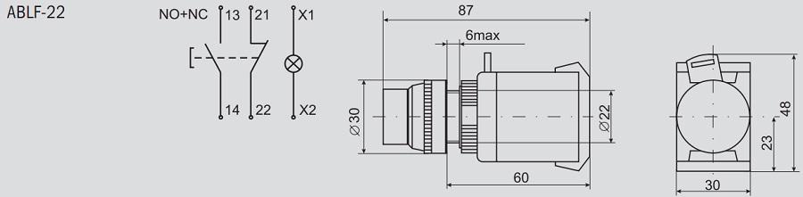 нажимной кнопки ABLF-22
