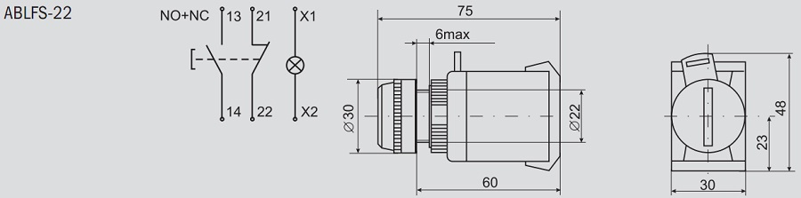 размерами кнопки ABLFS-22