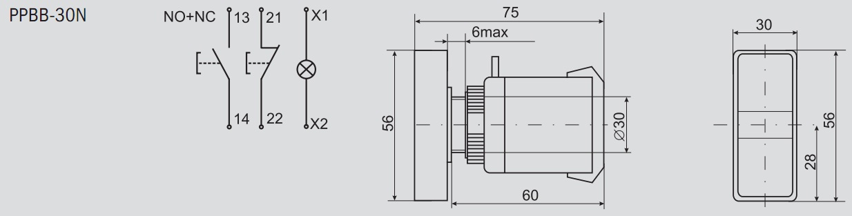 Схема кнопки ppbb-30n