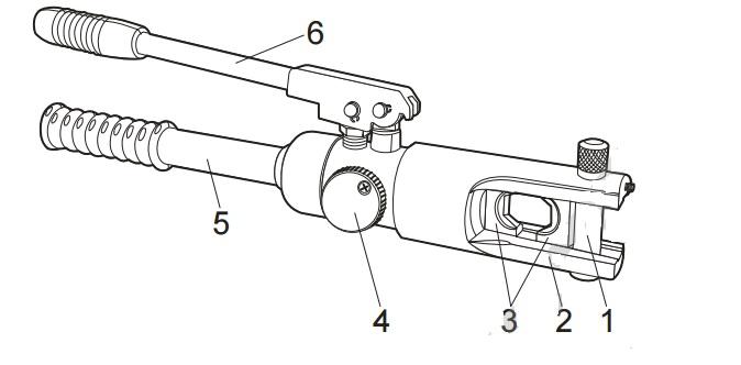 Конструктивные элементы гидравлического ручного пресса ПГР-120 для обжатия наконечников и гильз на токопроводящих жилах кабелей и проводов