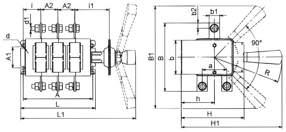 Общий вид (изображение) перекидного или реверсивного рубильника ВР32-31 на 100А В71250 Кореневского завода низковольтной аппаратуры, габаритные размеры аппарата