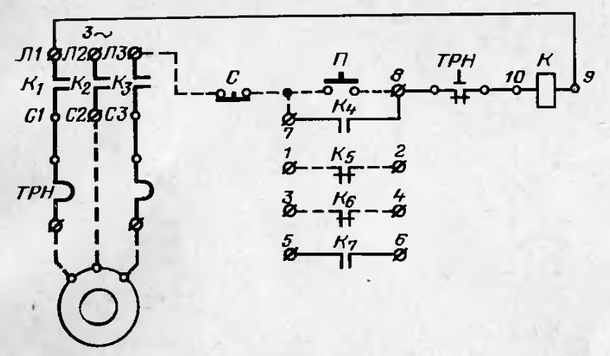 Электрическая схема соединения пускателя ПМЕ 212 с электродвигателем.  Схема присоединения пускателя ПМЕ 211 с...